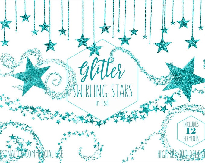 AQUA GLITTER STARS Clipart Commercial Use Clip Art Swirling Star Borders & Frames Teal Metallic Celestial Night Sky Stars Digital Graphics