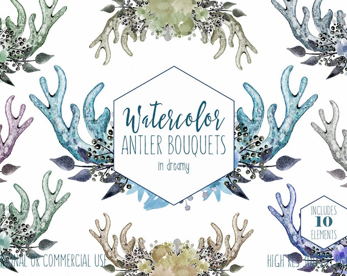 BOHO CHIC ANTLER Clipart Commercial Use Clip Art Mint Gray Hand-Painted Watercolor Deer Antlers Blue Floral Wreath Bouquet Bohemian Graphics
