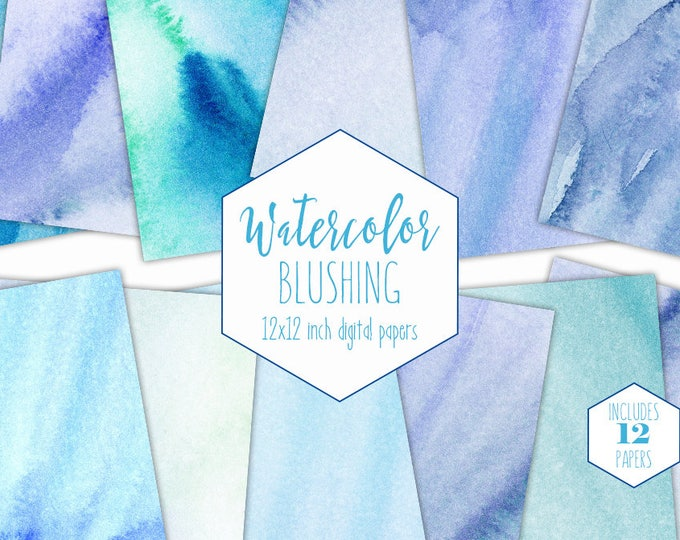 BLUE WATERCOLOR WASH Digital Paper Pack Commercial Use Backgrounds Blushing Aqua Scrapbook Papers Real Watercolour Hand Painted Textures