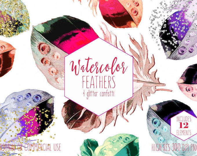 WATERCOLOR FEATHERS Clipart Commercial Use Clip Art Pink Coral Peach Mint Metallic Silver Gold Confetti Boho Chic Tribal Feather Graphics
