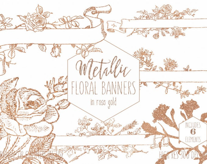 ROSE GOLD FLORAL Clipart for Commercial Use Banner Clip Art Ribbon Banners Frames Roses Elegant Wedding Flowers Invitation Digital Graphics