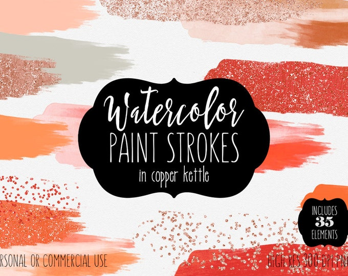 CORAL WATERCOLOR & COPPER Paint Strokes Clipart Commercial Use Clip Art 35 Watercolor Brush Strokes Autumn Rust Peach Orange Logo Graphics