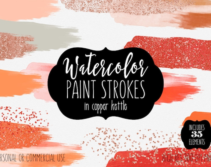 CORAL WATERCOLOR & COPPER Paint Strokes Clipart Commercial Use Clip Art 35 Watercolor Brush Strokes Autumn Rust Peach Orange Logo Graphics