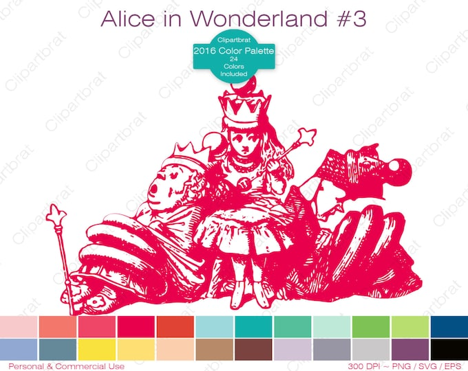 ALICE IN WONDERLAND Clipart Commercial Use Clipart Queen of Hearts 2016 24 Color Palette John Tenniel Digital Sticker Vector Png Eps Svg