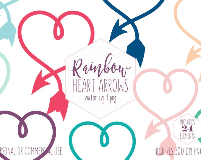 RAINBOW HEART ARROW Clipart for Commercial Use Planner Sticker Clip Art Heart Frame Love Arrow Valentines Day Digital Vector Graphics Svg