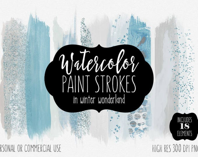 WINTER WATERCOLOR BRUSH Strokes Clipart Commercial Use Clip Art Watercolor Paint Strokes Silver & Baby Blue Confetti Textures Logo Graphics