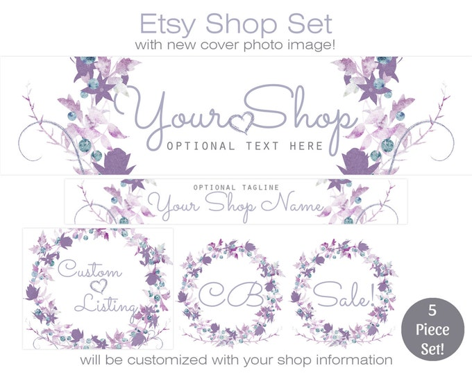 ETSY SHOP SET - Choose Your Font - Cover Photo Banner Icon Logo Lavender Purple Chic Watercolor Floral Wreath Etsy Business Branding Package