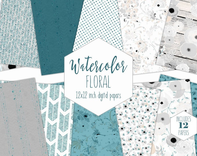MODERN FLORAL WATERCOLOR Digital Paper Pack Commercial Use Peach Gray Teal Metallic Scrapbook Paper Wood Boho Wedding Digital Paper Patterns