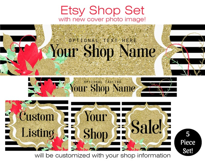 ETSY SHOP SET - Choose Your Font- Cover Photo Banner Icon Metallic Gold Watercolor Flowers & Black White Stripes Modern Branding Customized