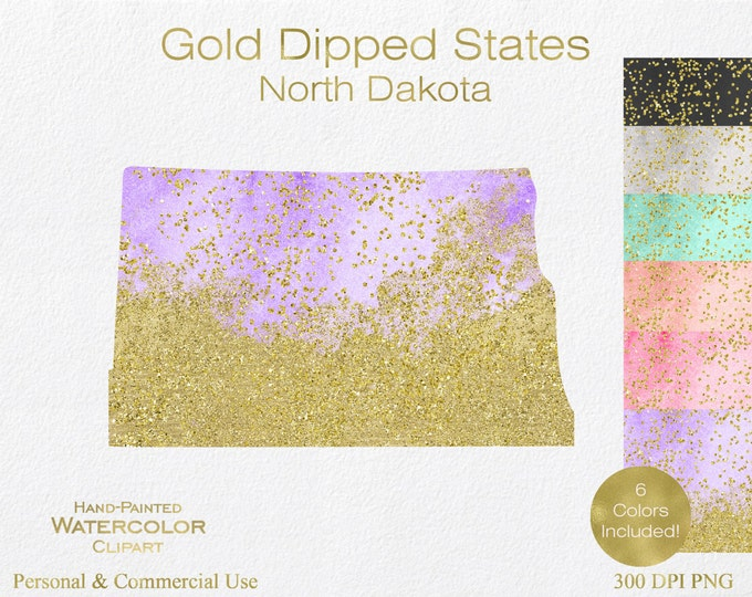 WATERCOLOR & GOLD North Dakota Clipart Commercial Use Clipart United States Wedding Clipart Gold Confetti Dust North Dakota Clip Art
