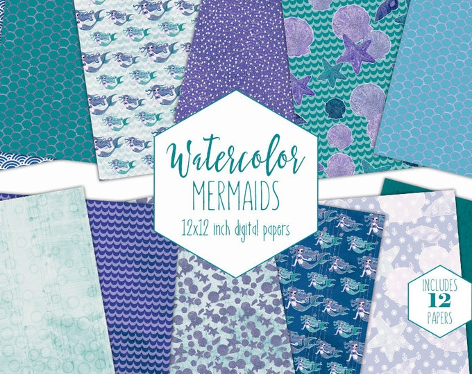 TEAL MERMAID DIGITAL Paper Pack Commercial Use Purple Under the Sea Backgrounds Aqua Watercolor Scales Ocean Scrapbook Birthday Patterns
