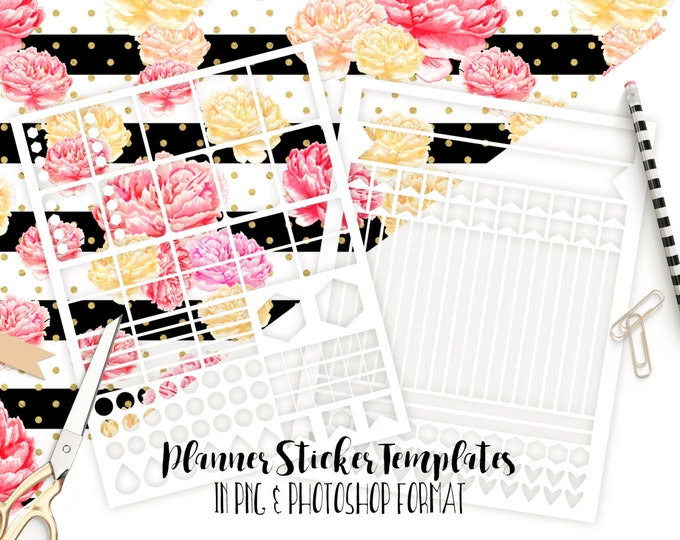PLANNER STICKER TEMPLATES Commercial Use Blank Diy Sticker Templates Life Planner Digital Stickers Diy Erin Condren Template Png & Photoshop
