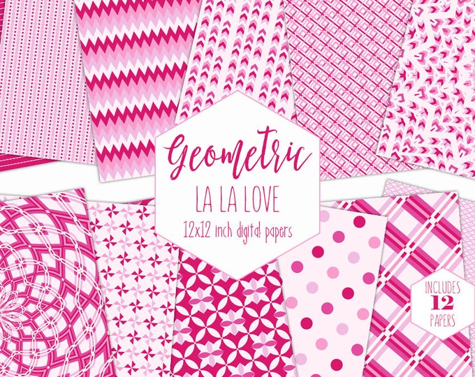PINK DIGITAL PAPER Pack Valentine's Day Backgrounds Mandala Scrapbook Paper Stripe Geometric Patterns Party Printable Commercial Use Clipart