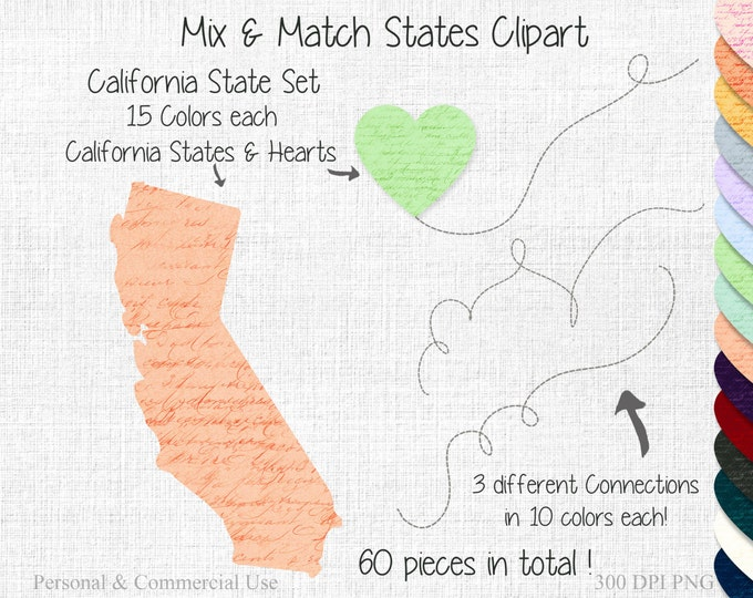 CALIFORNIA STATE to STATE Clipart Commercial Use Clipart Mix & Match Home State Wedding Clipart California Map United States Shapes Clipart