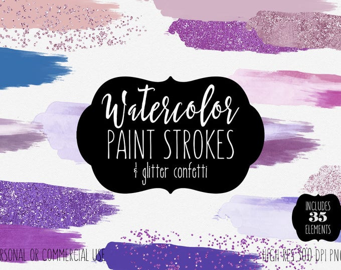 PURPLE WATERCOLOR BRUSH Strokes Clipart Commercial Use Clipart 35 Watercolor Paint Forms Splotch Glitter Confetti Watercolor Textures Logo