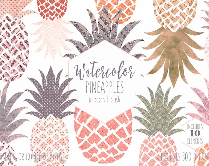 PINK & PEACH PINEAPPLE Clipart Commercial Use Clip Art Island Fruit Clipart with Gold Metallic Tropical Pineapples Planner Sticker Graphics