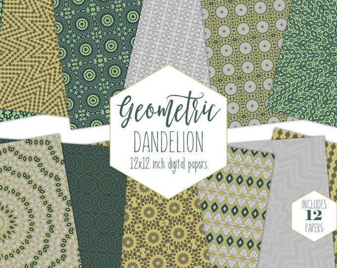 MUSTARD YELLOW Digital Paper Pack Bohemian Backgrounds Gray Dandelion Floral Scrapbook Papers Boho Mandala Patterns Commercial Use Clipart