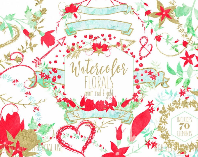 FLORAL WEDDING CLIPART Commercial Use Clip Art Watercolor Flower Bouquets in Mint Red & Gold Metallic Floral Wreaths Banners Arrow Graphics