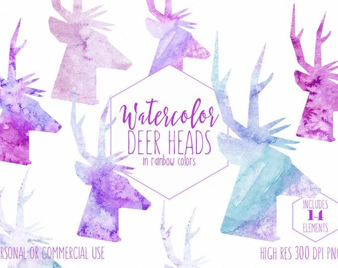 WATERCOLOR DEER HEAD Clipart Commercial Use Clip Art Fun Reindeer Antlers Rainbow Watercolour Deer Bright Watercolor Deer Head Silhouettes