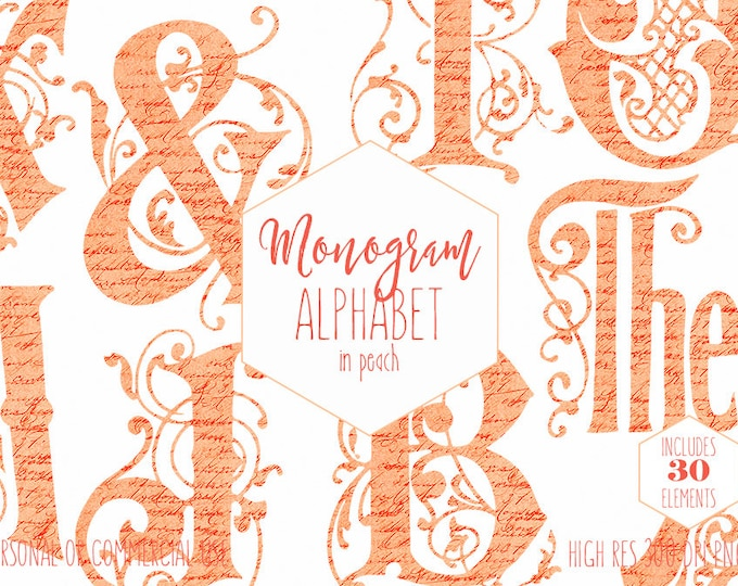 PEACH VINE MONOGRAM Clipart for Commercial Use Wedding Alphabet Clip art French Script Texture Vintage Ornate Letters Digital Alpha graphics