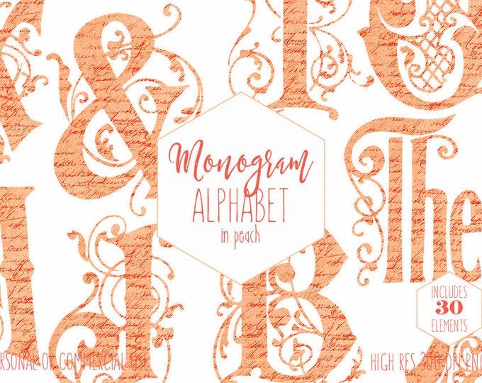 PEACH VINE MONOGRAM Clipart for Commercial Use Wedding Alphabet Clip art French Script Texture Vintage Ornate Letters Digital Alpha graphics