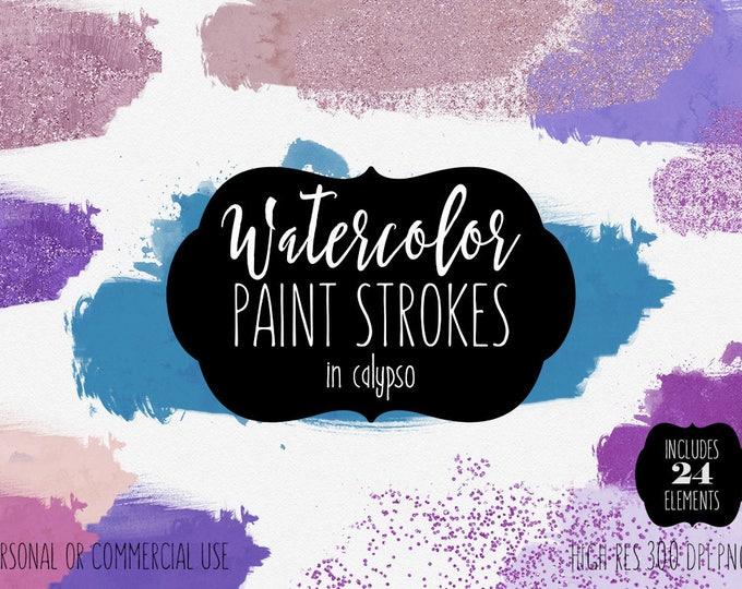 WATERCOLOR BRUSH STROKES Clipart Commercial Use Clip Art 24 Watercolor Paint Splash Aqua Pink & Purple Confetti Textures Shop Logo Graphics