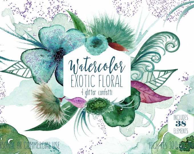 WATERCOLOR FLORAL CLIPART Commercial Use Clip Art Watercolour Flowers Leaves Aqua Teal & Purple Glitter Confetti Paint Splash Graphics