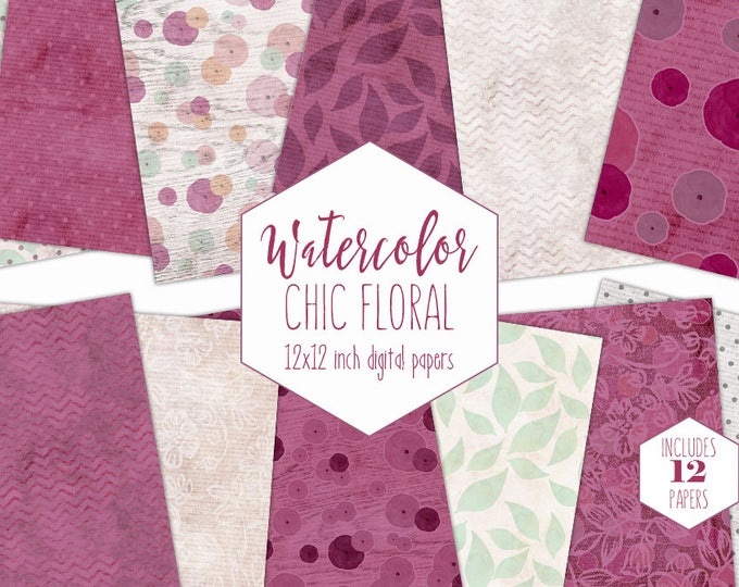 BURGUNDY MODERN FLORAL Digital Paper Pack Commercial Use Backgrounds Boho Watercolor Flowers Scrapbook Papers Chevron Wood Lace Patterns