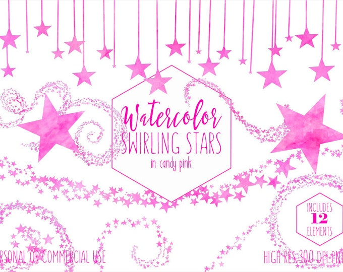 PINK STARS CLIPART Commercial Use Clip Art Bright Hot Candy Pink Watercolor Twinkle Little Star Trails Celestial Sky Baby Shower Graphics