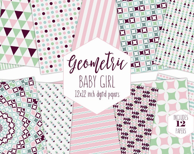 BABY GIRL GEOMETRIC Digital Paper Pack Blush Pink Mint Burgundy Backgrounds Stripe Scrapbook Paper Patterns Party Printable Commercial Use