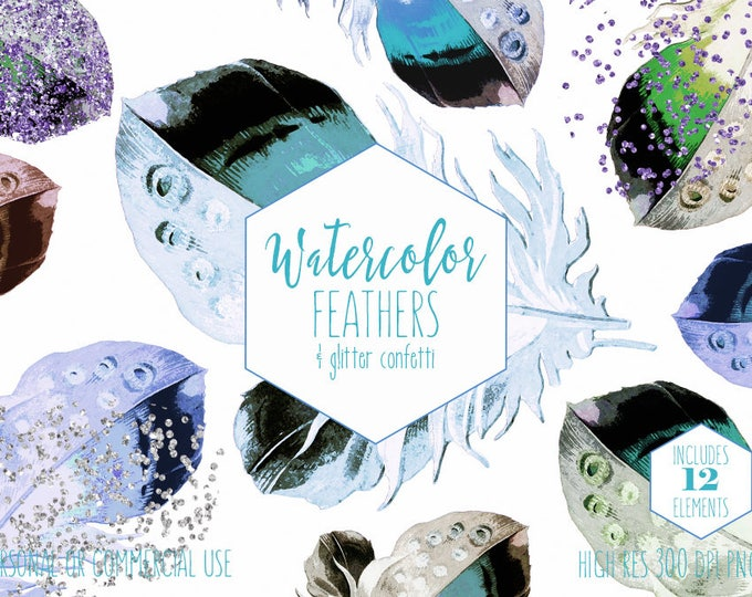 BLUE WATERCOLOR FEATHERS Clipart Commercial Use Clip Art Aqua Mint Purple Feathers & Silver Metallic Confetti Tribal Boho Chic Graphics