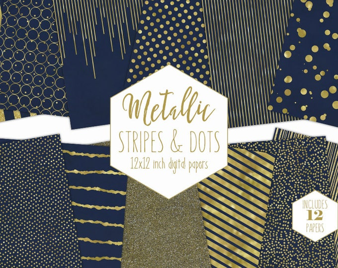 NAVY & GOLD FOIL Digital Paper Pack Stripe Backgrounds Metallic Confetti Scrapbook Paper Polka Dot Blue Wedding Patterns Party Printable