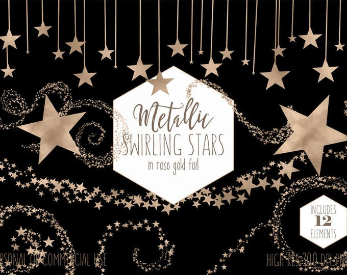 ROSE GOLD STARS Clipart for Commercial Use Clip Art Rose Gold Foil Stars Metallic Star Shapes Baby Party Teacher Invitation Digital Graphics