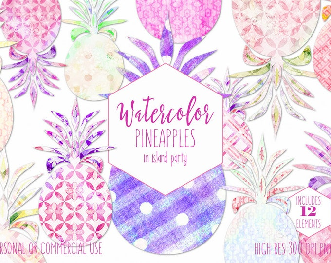 FUN TROPICAL PINEAPPLES Clipart Commercial Use Clip Art Geometric Watercolor Pineapple Fruit Purple Pink & Yellow Planner Sticker Graphics