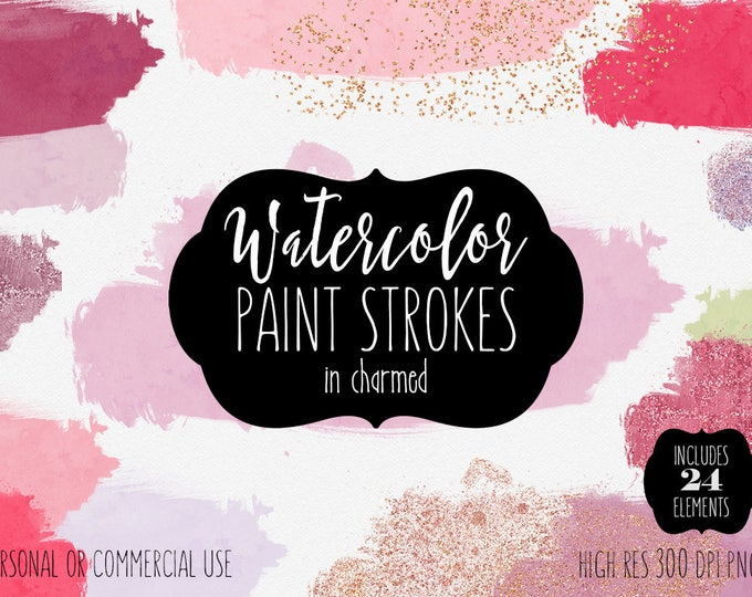 BLUSH PINK & Rose Gold Paint Clipart Commercial Use Clipart 24 Watercolor Brush Strokes and Metallic Confetti Textures Shop Header Graphics