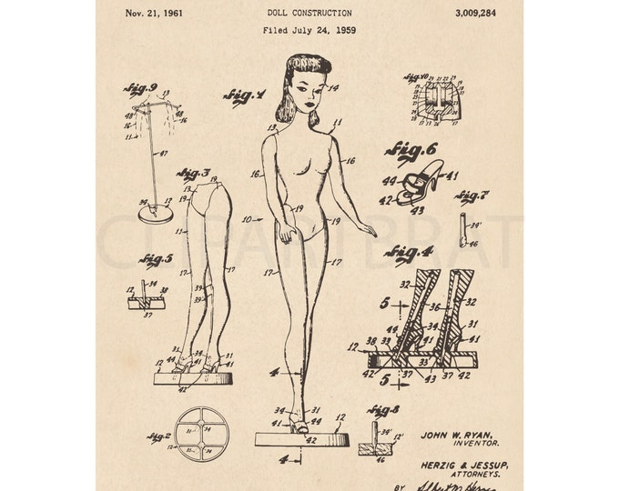 1959 BARBIE DOLL Printable Art Print Intsant Download Barbie Patent Diagram Digital Art Antique Barbie Doll wall Art Printable Poster Art