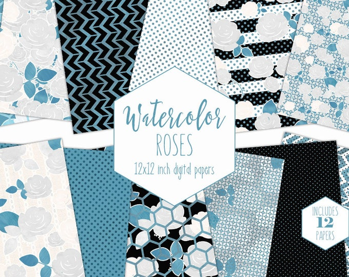 BLUE & WHITE FLOWER Digital Paper Pack Black Stripes Metallic Commercial Use Backgrounds Rose Floral Scrapbook Papers Hexagon Arrow Patterns
