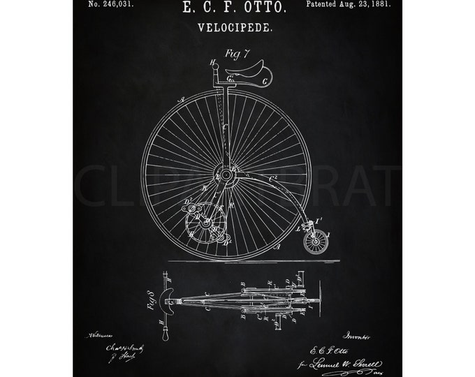 1881 HIGH WHEEL Bicycle Printable Art Print Intsant Download Velocipede Patent Diagram Digital Art Antique Bicycle wall Art Printable Poster