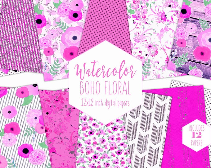 BOHO CHIC WATERCOLOR Floral Digital Paper Pack Hot Pink Purple Metallic Commercial Use Backgrounds Wood Scrapbook Wedding Flower Patterns