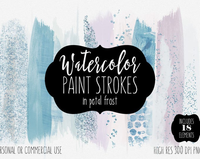 AQUA BRUSH STROKES Clip Art Commercial Use Clipart Watercolor Paint Holiday Blog Header Blush Pink & Blue Confetti Watercolour Logo Graphics