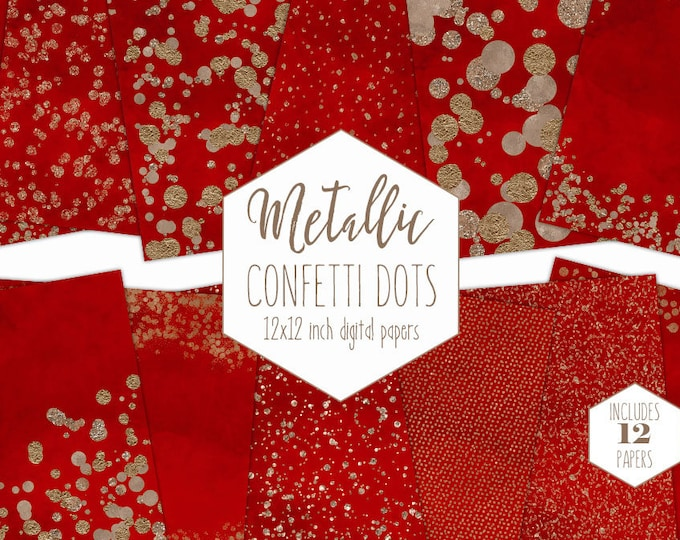 ROSE GOLD FOIL & Red Digital Paper Pack Confetti Dot Backgrounds Metallic Christmas Scrapbook Paper Holiday Patterns Party Printable Clipart