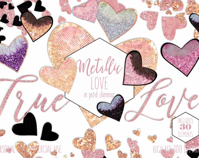 GOLD HEARTS GLITTER Clipart Commercial Use Clip Art True Love Blush Pink Peach Romantic Cute Valentine's Day Heart Confetti Wedding Graphics