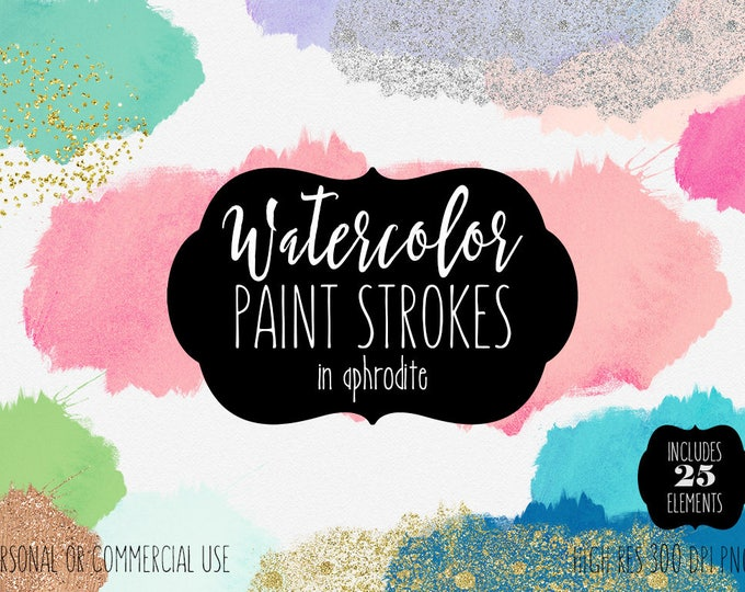 WATERCOLOR BRUSH STROKES Clipart Commercial Use Clip Art 25 Watercolor Paint Splatters Silver & Gold Confetti Textures Shop Logo Graphics