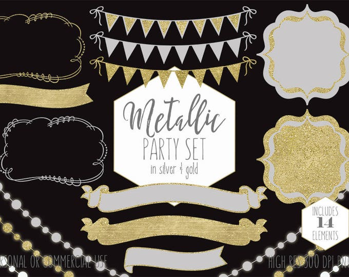SILVER & GOLD Party Clipart Commercial Use Planner Clip Art Metallic Bunting Banner Frames Glowing Lights Wedding Birthday Digital Graphics