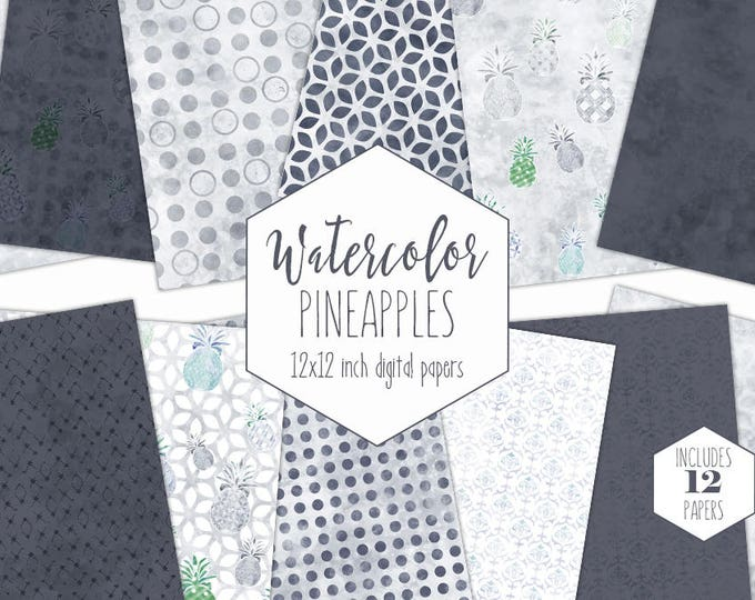 GRAY WATERCOLOR PINEAPPLE Digital Paper Pack Commercial Use Tropical Backgrounds White Scrapbook Papers Beach Watercolour Patterns Clipart