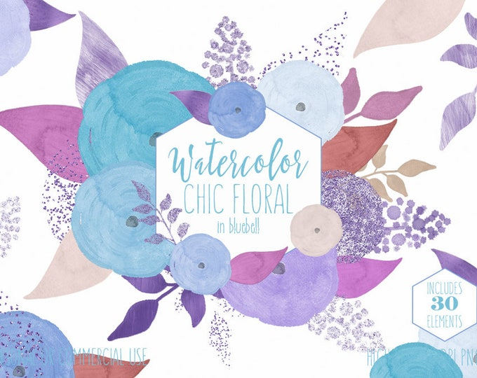 LIGHT BLUE WATERCOLOR Floral Clipart Commercial Use Clip Art Watercolour Aqua Flowers & Metallic Confetti Chic Modern Roses Wedding Graphics