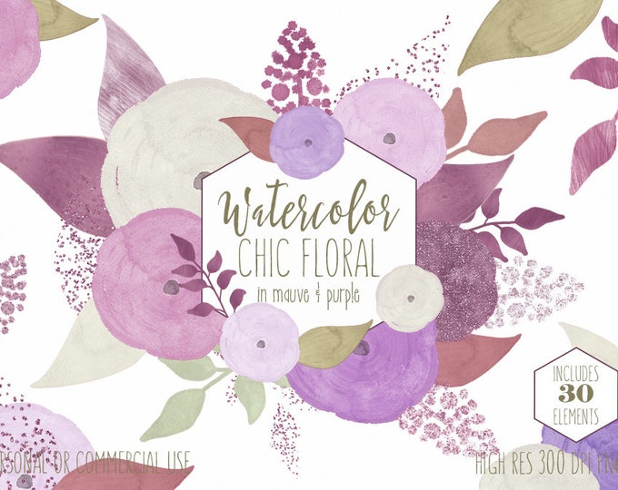MAUVE WATERCOLOR FLORAL Clipart Commercial Use Clip Art Watercolour Flowers Metallic Purple Roses Chic Floral Wedding Invitation Graphics