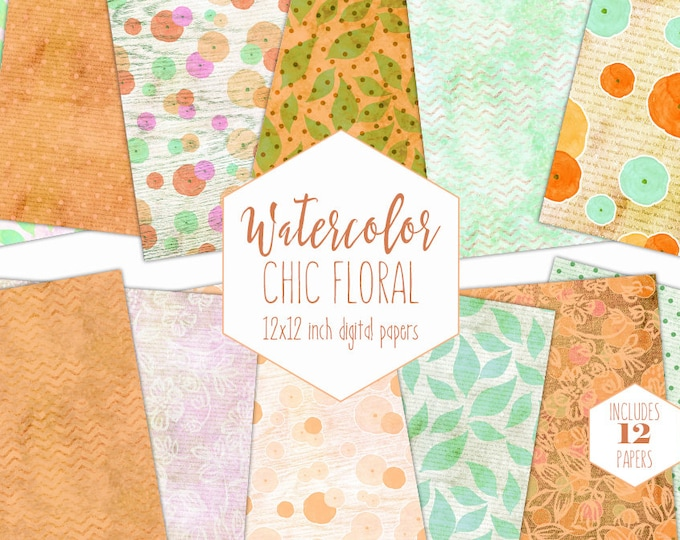 SUMMER CITRUS FLORAL Digital Paper Pack Commercial Use Yellow & Orange Backgrounds Mint Green Scrapbook Paper Chevron Modern Flower Patterns