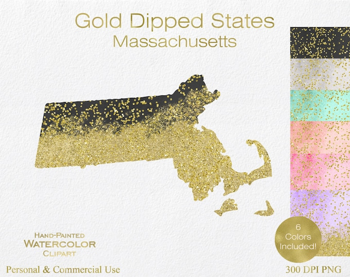 WATERCOLOR & GOLD MASSACHUSETTS Clipart Commercial Use Clipart United States Shape Wedding Clipart Gold Confetti Dust Massachusetts Clip Art