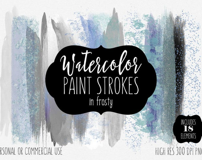 WINTER WATERCOLOR BRUSH Strokes Clipart Commercial Use Clip Art 18 Watercolor Paint Textures Holiday Aqua Silver & Confetti  Logo Graphics